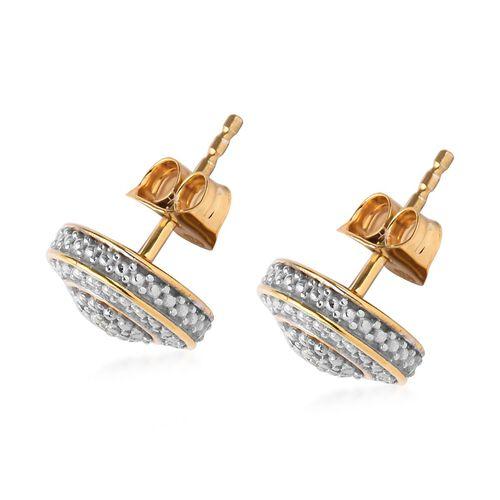 Diamond Stud Earrings in 14K Gold Overlay Sterling Silver
