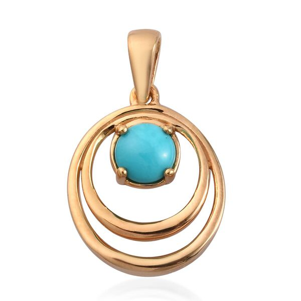 Arizona Sleeping Beauty Turquoise Pendant in 14K Gold Overlay Sterling Silver 0.75 Ct.