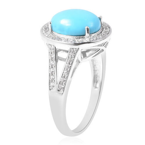 Arizona Sleeping Beauty Turquoise (Ovl 11x9mm), Natural Cambodian Zircon Ring in Rhodium Overlay Sterling Silver 3.80 Ct.