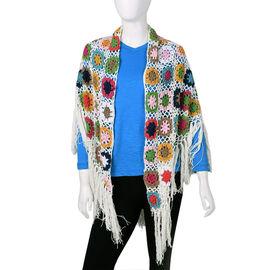 Limited Collection La Marey 100% Cotton Hand Crochet White, Green & Multi Colour Floral Shawl (86x16