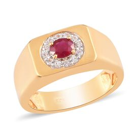 Burmese Ruby and Natural Cambodian Zircon Ring in 14K Gold Overlay Sterling Silver
