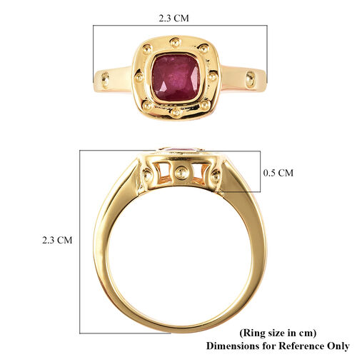 RACHEL GALLEY African and Burmese Ruby Journey of Life Theme Ring in Yellow Gold Overlay Sterling Silver 1.17 Ct.