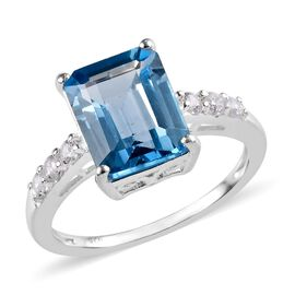 Sky Blue Topaz (Oct 10x8 mm), Natural Cambodian Zircon Ring (Size L) in Sterling Silver 3.75 Ct.