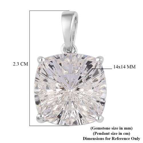 J Francis Crystal from Swarovski White Colour Crystal Pendant in Platinum Overlay Sterling Silver