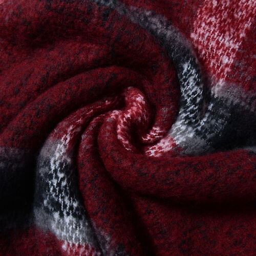 Classic Gingham Pattern Red and Black Colour Scarf with Tassels (Size 180x55Cm)