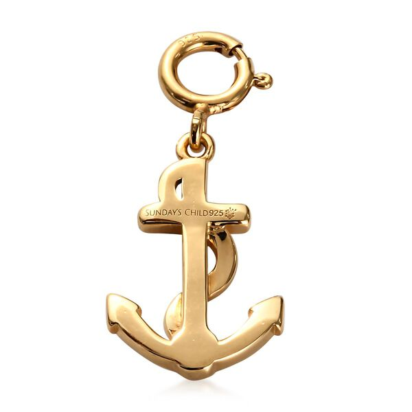 Sundays Child - 14K Gold Overlay Sterling Silver Anchor Charm