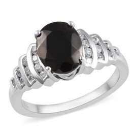 2.09 Ct Shungite and Zircon Solitaire Design Ring in Platinum Plated Sterling Silver