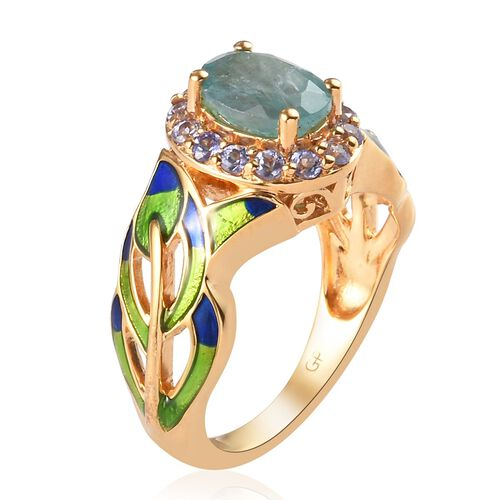 GP - Grandidierite, Tanzanite and Blue Sapphire Enamelled Ring in 14K Gold Overlay Sterling Silver 1.20 Ct.