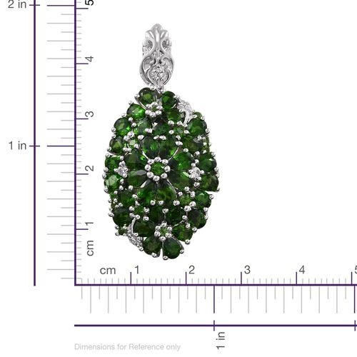 Russian Diopside (Rnd), Natural Cambodian Zircon Pendant in Platinum Overlay Sterling Silver 6.250 Ct. Silver wt. 6.11 Gms.