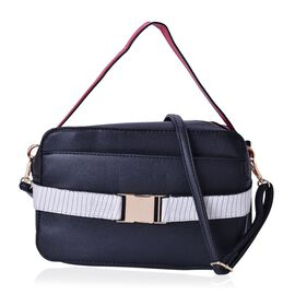 Black, White and Red Colour Crossbody Bag with Adjustable and Removable Shoulder Strap (Size 25x17x7.5 Cm)