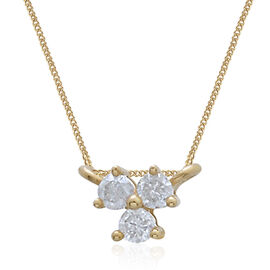 9K Yellow Gold SGL Certified Diamond (Rnd) (G-H/I3) Three Stone Pendant with Chain (Size 18) 0.10 Ct