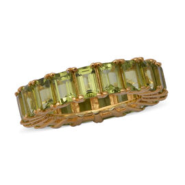 11.59 Ct AA Hebei Peridot Eternity Ring in Yellow Gold Plated Sterling Silver