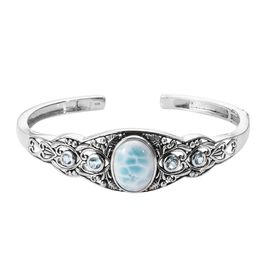 Artisan Crafted Larimar (Ovl 16x12 mm), Blue Topaz Cuff Bangle (Size 7.5) in Sterling Silver 11.25 C