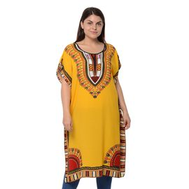 100% Cotton Yellow Colour Africa Addio Pattern Poncho (Size 104x73.6 Cm)