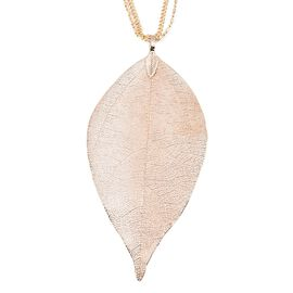 Leaf Pendant With Three String Chain (Size 29 with 2.5 Inch Extender) in Gold Plated
