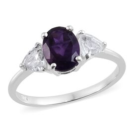 Amethyst (Ovl 1.75 Ct), White Topaz 3 Stone Ring in Sterling Silver 2.750 Ct.