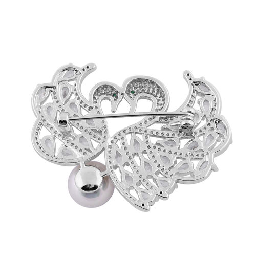 Simulated Diamond, Simulated Emerald and White Shell Pearl Swan Couple Brooch in Silver Tone