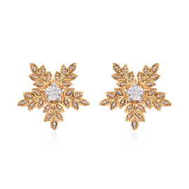 Diamond Stud Floral Earrings with Push Back in 14K Gold Plated Silver