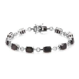 10 Carat Elite Shungite Station Bracelet in Platinum Plated Sterling Silver 7.5 Inch