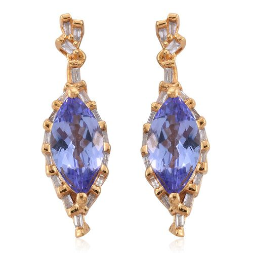 Limited Edition-Tanzanite (Mrq), Diamond Earrings (with Push Back) in 14K Gold Overlay Sterling Silver 2.500 Ct.