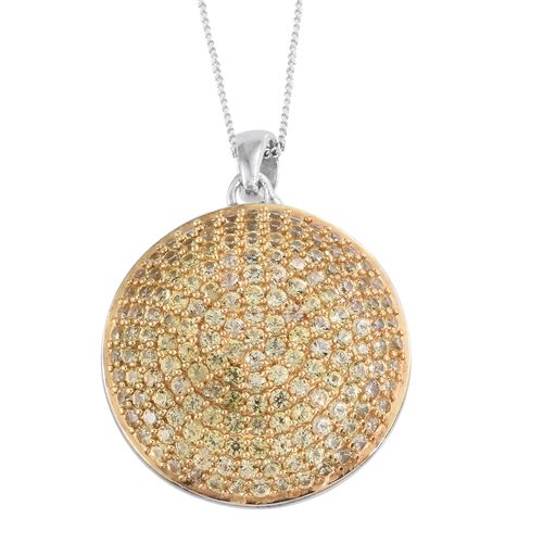 Red Carpet Collection - Chanthaburi Yellow Sapphire (Rnd) Cluster Pendant with Chain in Platinum Overlay Sterling Silver 3.250 Ct. No. Of Stones 166 Pcs Silver wt 6.18 Gms.