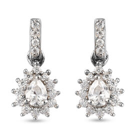 Moissanite Dangle Earrings (with Push Back) in Platinum Overlay Sterling Silver