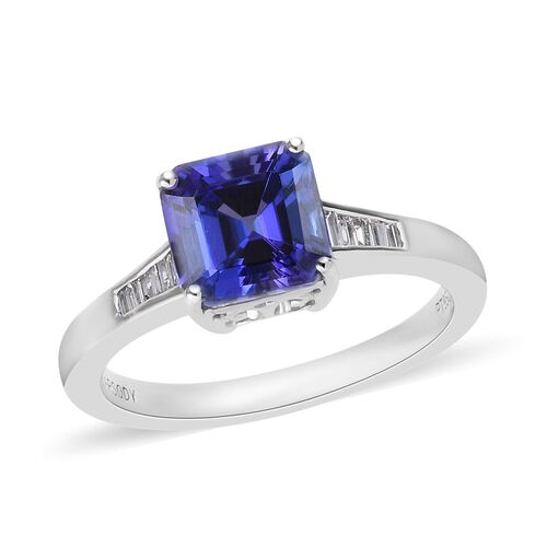 RHAPSODY 2.35 Ct AAAA Tanzanite and Diamond Solitaire Ring in 950 Platinum VS EF