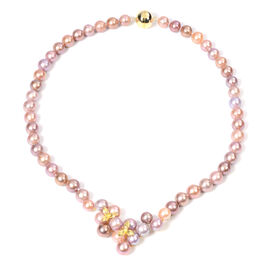 Multi Colour Edison Pearl Necklace (Size 20 with Magnetic Lock) in Yellow Gold Overlay Sterling Silv
