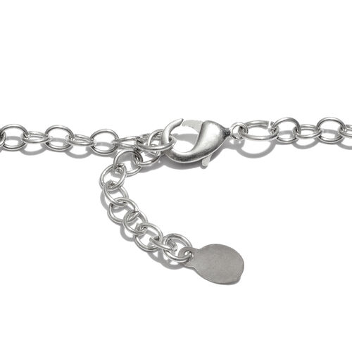 Circle Link Leather Chain (Size 26 with 1 inch Extender) in Silver Tone