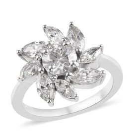 J Francis Made with SWAROVSKI ZIRCONIA Floral Cluster Ring in Platinum Plated Silver