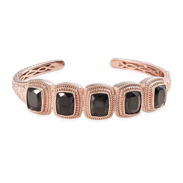 9.50 Ct Shungite 5 Stone Hinged Bangle in Copper with Magnet 7.5 Inch