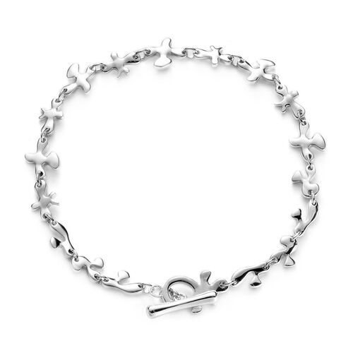LucyQ Fine Splash Bracelet (Size 7.75) in Rhodium Plated Sterling Silver 8.44 Gms.