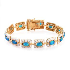Miami Blue Welo Opal Enamelled Bracelet (Size 7.5) in 14K Gold Overlay Sterling Silver 5.00 Ct, Silv