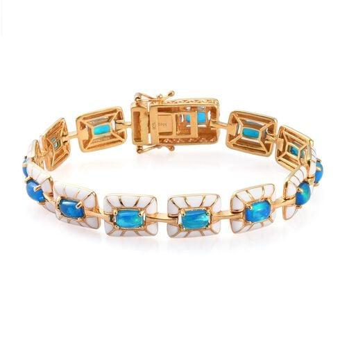 Miami Blue Welo Opal Enamelled Bracelet (Size 7.5) in 14K Gold Overlay Sterling Silver 5.00 Ct, Silv