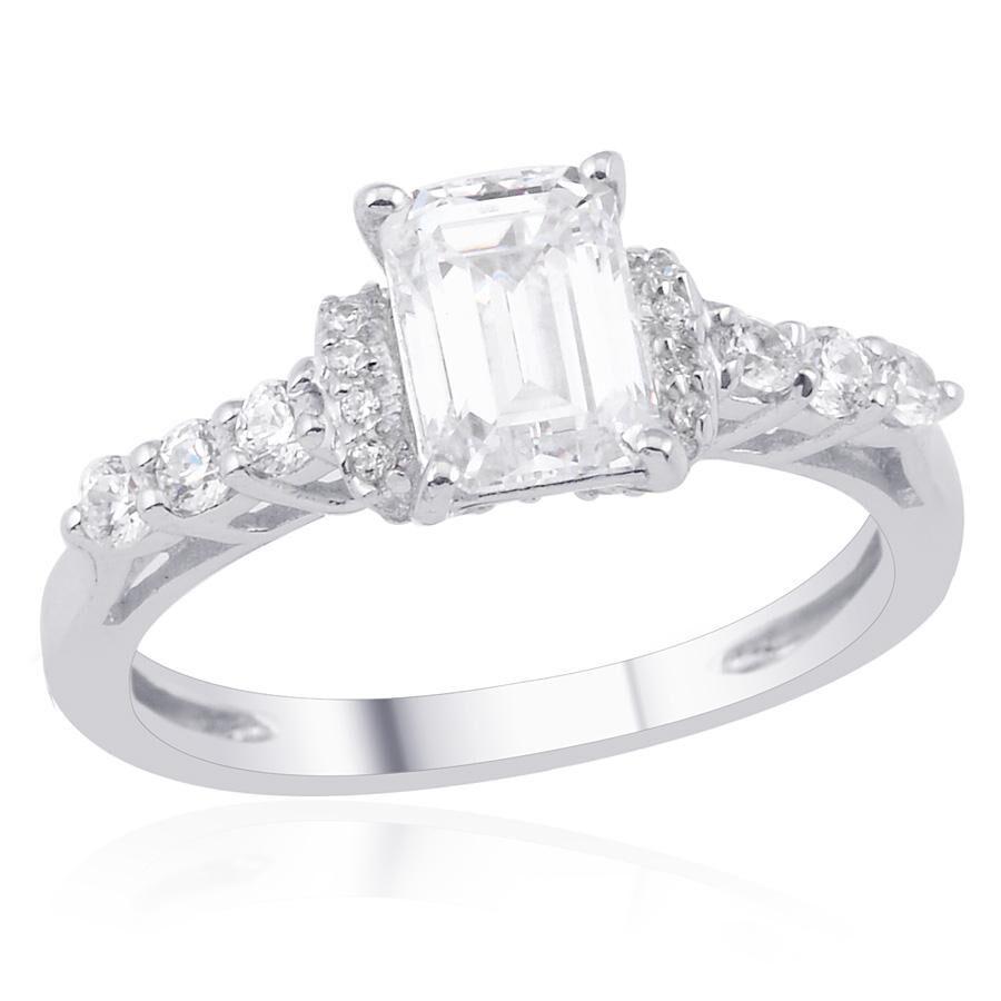 [Sponsored]TJC Platinum Overlay Sterling Silver Ring Made with Swarovski® ZIRCONIA TP8i9m