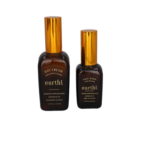 Shungite Enriched Earthi Sugarcane and Olive Radiance Day Cream with Complementary Rose Face Wash (1