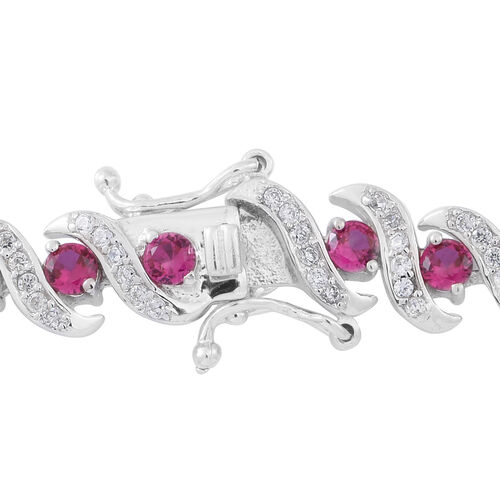 Limited Edtition-ELANZA Simulated Pink Sapphire (Rnd), Simulated White Diamond Bracelet (Size 7.5) in Rhodium Plated Sterling Silver.Silver Wt 20.00 Gms