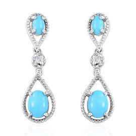2 Carat Arizona Sleeping Beauty Turquoise and Cambodian Zircon Drop Earrings in Sterling Silver