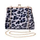 Grey Leopard Pattern Faux Fur Clutch Closure Crossbody Bag (Size: 23x10x18cm) with Chain Shoulder St