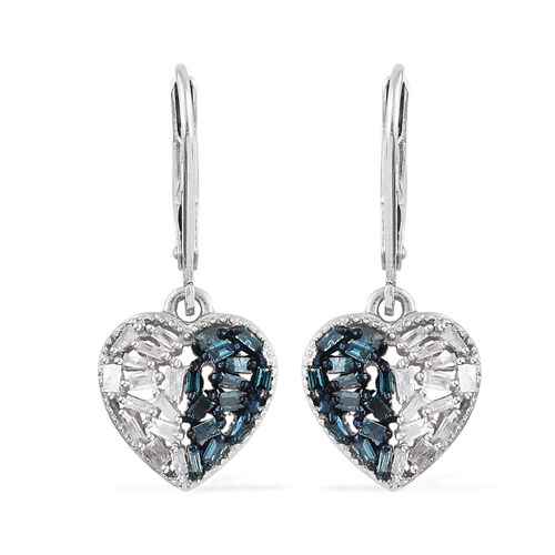 Blue and White Diamond (Bgt) Heart Earrings (with Lever Back) in Platinum Overlay with Blue Plating
