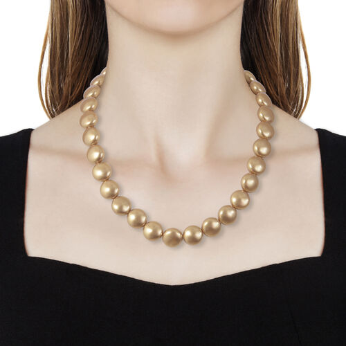 J Francis Pearl From Swarovski -  Bright Gold Colour (Rnd) Necklace (Size 18 and 2 inch Extender) in Rhodium Overlay Sterling Silver