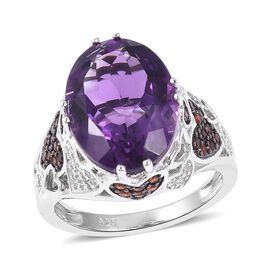 Rose De France Amethyst (Ovl 8.50 Ct), Mozambique Garnet, Natural White Cambodian Zircon Ring in Rho