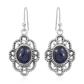 Designer Inspired- Indian Blue Sapphire (Ovl) Earrings in Sterling Silver 5.580 Ct. Silver Wt. 4.45