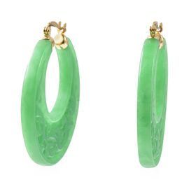 84 Ct Green Jade Hoop Earrings in Gold Plated Sterling Silver with Clasp