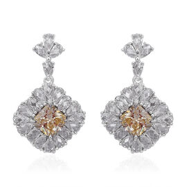 ELANZA Simulated Canary Diamond (Sqr), Simulated Diamond Earrings (with Clasp) in Rhodium Overlay Sterling Silver, Silver wt 8.07 Gms.
