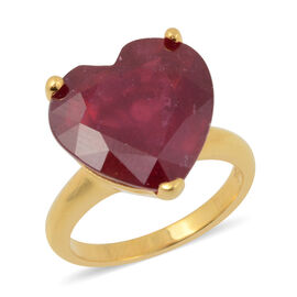 13.21 Ct African Ruby Solitaire Heart Ring in Gold Plated Silver