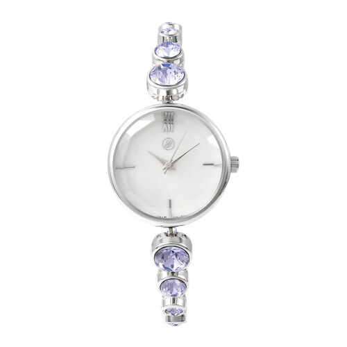 2 Piece Set - GENOA Japanese Movement Provence Lavender Swarovski Crystal Studded Water Resistant Bracelet Watch and Adjustable Bolo Bracelet (Size 6-9.5) in Silver Tone