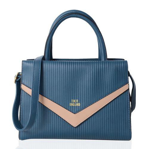 TW11 COLLECTION Vintage Teal Colour Tote Bag with External Zipper Pocket Size 28.5x22x12 Cm