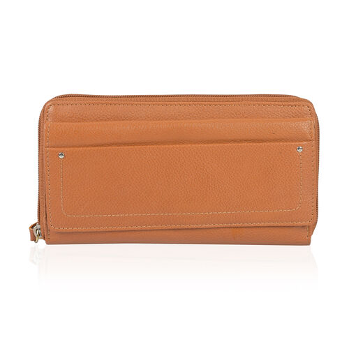 Super Soft 100% New Zealand Leather Tan Colour Clutch Wallet RFID Blocking (Size 19X2.5X10 Cm Large