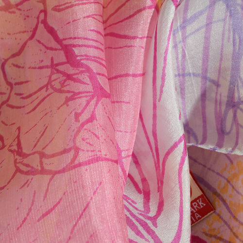 100% Mulberry Silk Pink, Purple and Multi Colour Handscreen Floral Printed Scarf (Size 200X88 Cm) (Silk Wt. 40 Gms)
